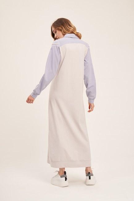 İki İplik Polo Yaka Elbise (Lila/Gri) - Thumbnail