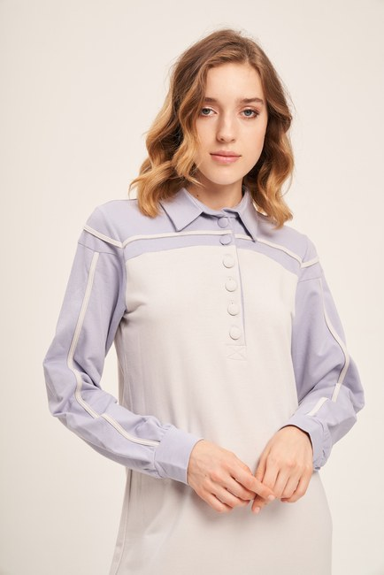 Mizalle - İki İplik Polo Yaka Elbise (Lila/Gri)
