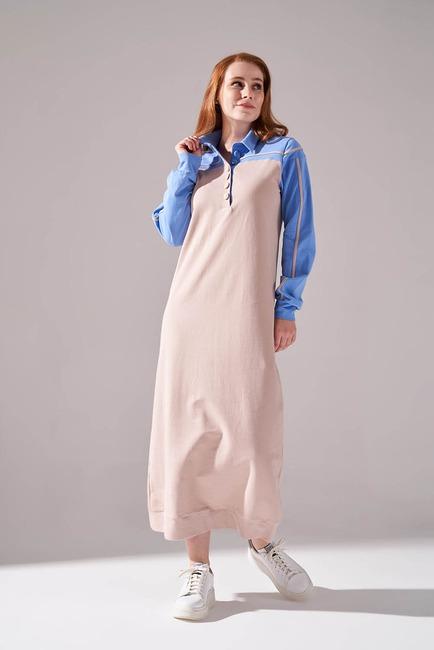 İki İplik Polo Yaka Elbise (Mavi) - Thumbnail