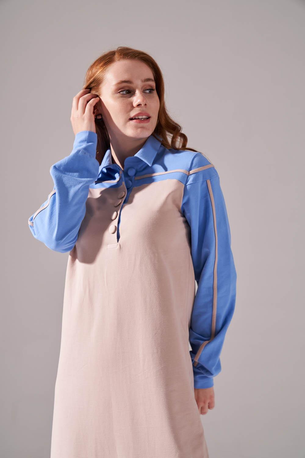 İki İplik Polo Yaka Mavi Elbise