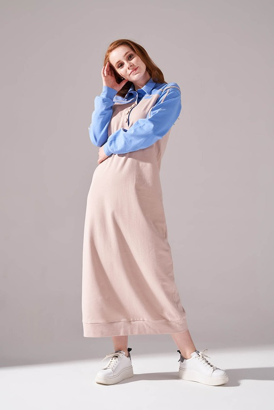 İki İplik Polo Yaka Elbise (Mavi)