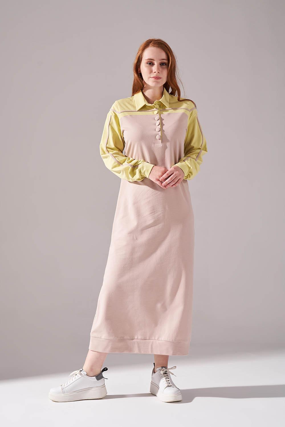 İki İplik Polo Yaka Sarı Elbise
