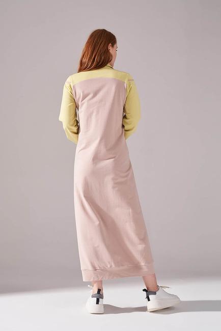 İki İplik Polo Yaka Elbise (Sarı) - Thumbnail