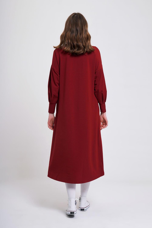 İki İplik Uzun Bordo Elbise