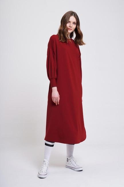 İki İplik Uzun Elbise (Bordo) - Thumbnail
