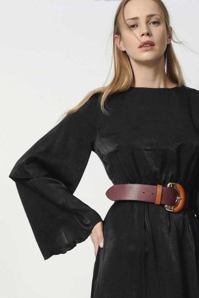 MIZALLE - İki Kat Volan Kollu Elbise (Siyah) (1)