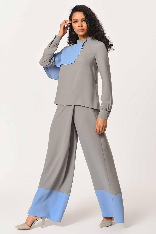 MIZALLE İki Renk Garnili Tasarım Bluz (Gri/Mavi) (1)