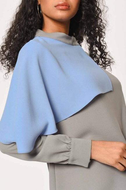 Two Colored Garnish Design Blouse (Grey/Blue) - Thumbnail