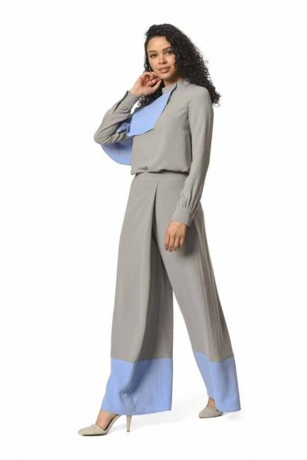 İki Renk Garnili Tasarım Pantolon (Gri/Mavi) - Thumbnail
