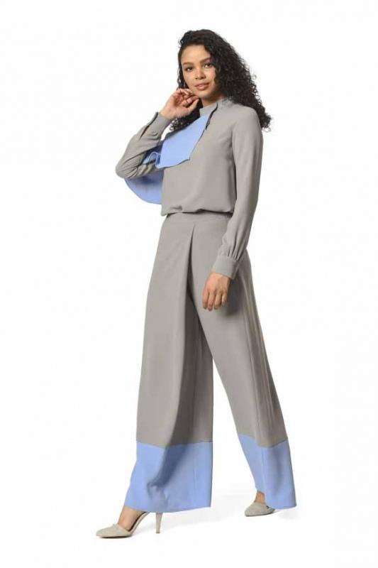 İki Renk Garnili Tasarım Pantolon (Gri/Mavi)
