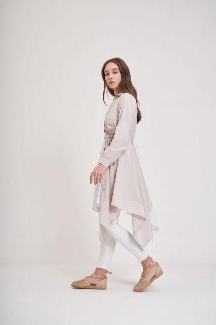 İki Renk Parçalı Tunik (Bej/Beyaz) - Thumbnail