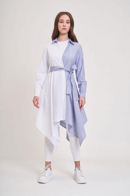Mizalle - İki Renk Parçalı Tunik (Mavi/Beyaz)