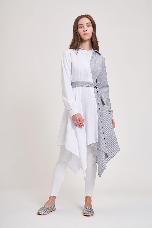 İki Renk Parçalı Siyah/Beyaz Tunik