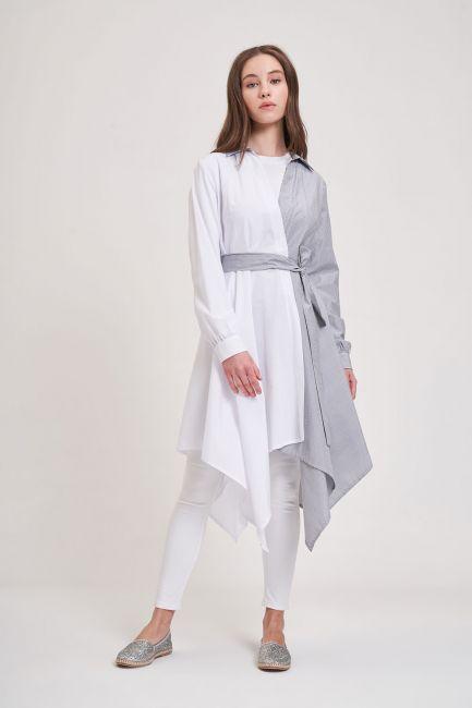 Mizalle - İki Renk Parçalı Siyah/Beyaz Tunik