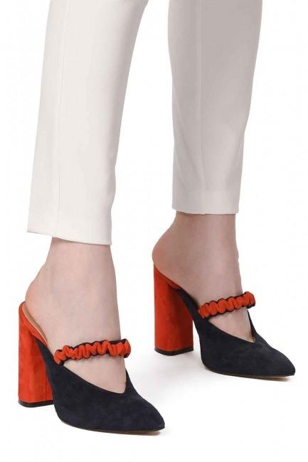 Mizalle - İki Renkli Ayakkabı (Lacivert - Nar Çiçeği)