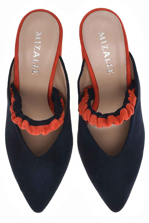 MIZALLE İki Renkli Ayakkabı (Lacivert - Nar Çiçeği) (1)
