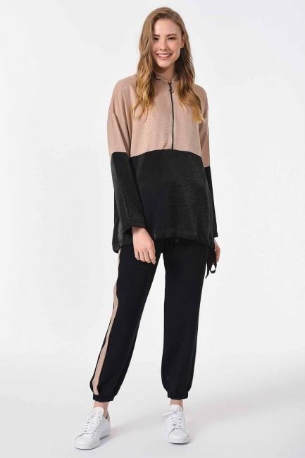 İki Renkli Fermuarlı Sweatshirt (Siyah/Bej) - Thumbnail