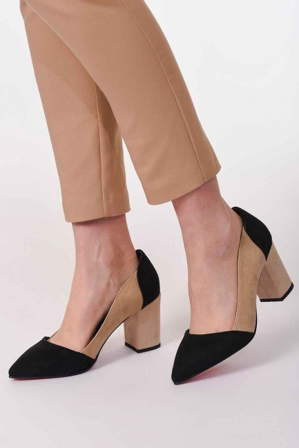 Two Color Suede Shoes (Black/Beige) - Thumbnail