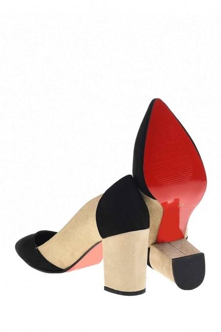 MIZALLE - İki Renkli Süet Ayakkabı (Siyah/Bej) (1)