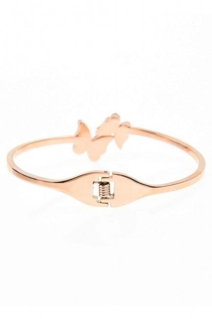 MIZALLE - Double Butterfly Steel Bracelet (St) (1)