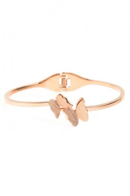 Double Butterfly Steel Bracelet (St) - Thumbnail
