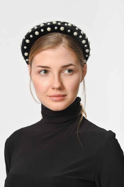MIZALLE - Pearl Detailed Hair Rim (Black) (1)