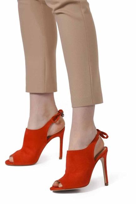 İnce Topuk Süet Ayakkabı (Nar Çiçeği) - Thumbnail