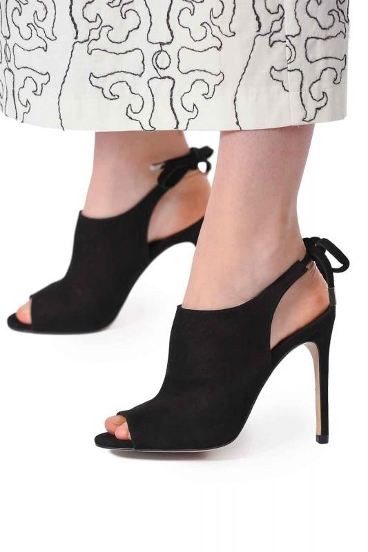 İnce Topuk Süet Deri Ayakkabı (Siyah)