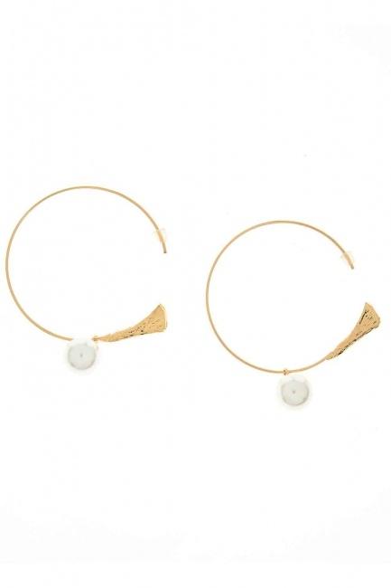 Pearl Detailed Circle Earring (St) - Thumbnail