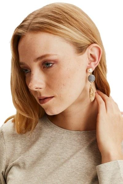 MIZALLE Pearl Detailed Straw Earrings (Mustard)