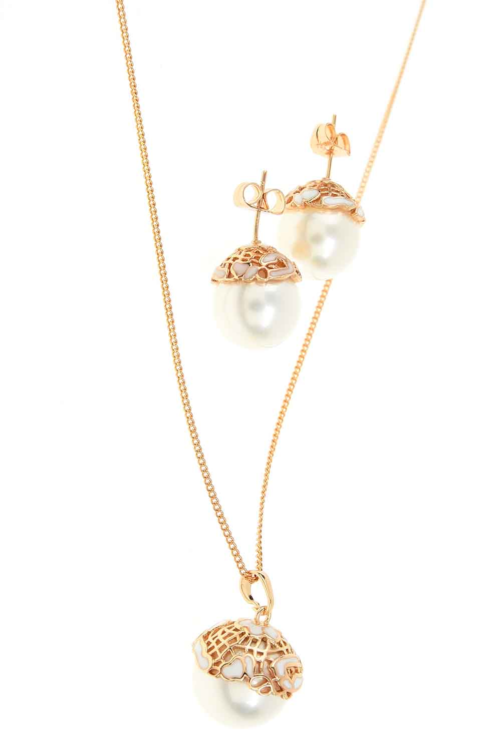 MIZALLE Pearl Detailed Necklace And Earring Set (St) (1)
