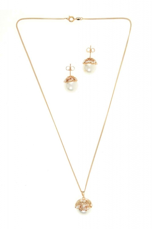 Pearl Detailed Necklace And Earring Set (St)