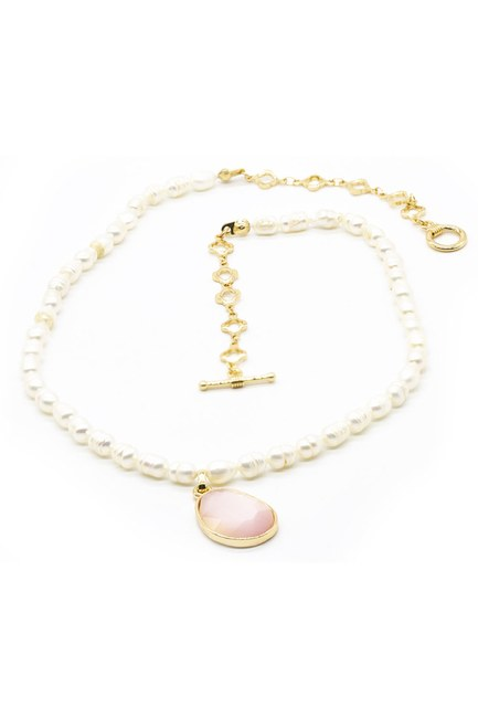 MIZALLE - Pearl Detailed Necklace (Pink) (1)