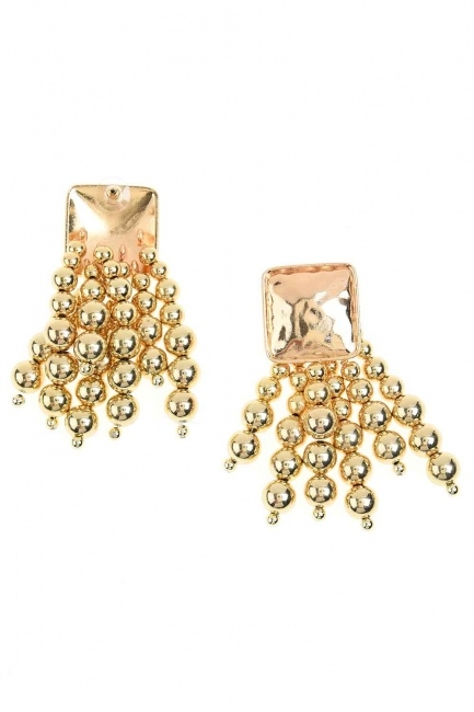 MIZALLE Pearl Detailed Dangling Earring (Gold)