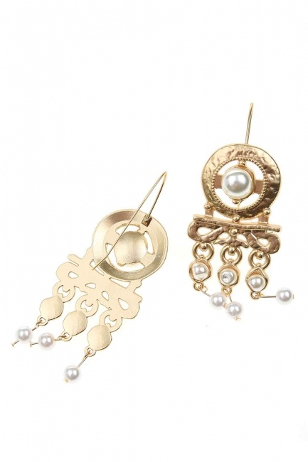Pearl Looking Dangling Earrings (St) - Thumbnail