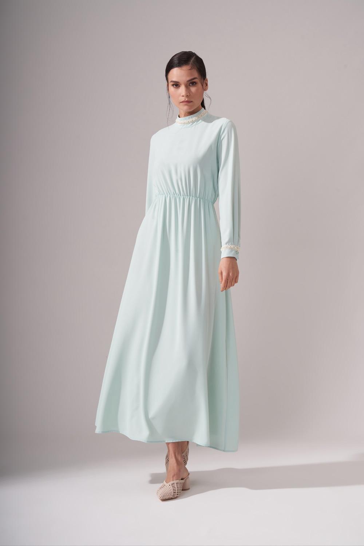 İnci Şeritli Mint Uzun Elbise