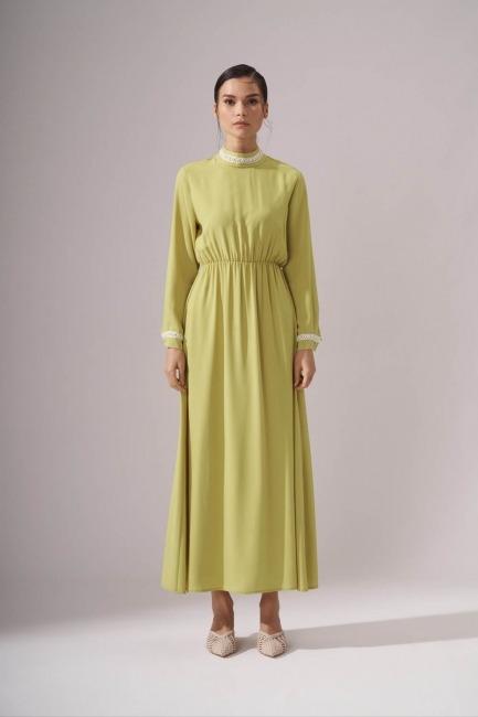 Mizalle - İnci Şeritli Sarı Uzun Elbise