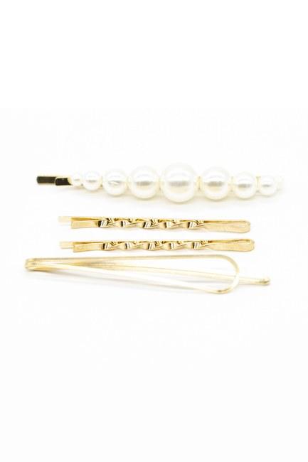 MIZALLE - Pearl Wire Hairpin Set (Ecru/Gold) (1)