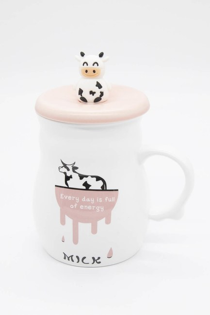 MIZALLE HOME - Cow Figured Porcelain Mug (Pink) (1)