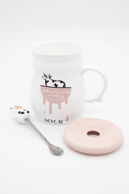 İnek Figürlü Porselen Kupa (Pembe) - Thumbnail