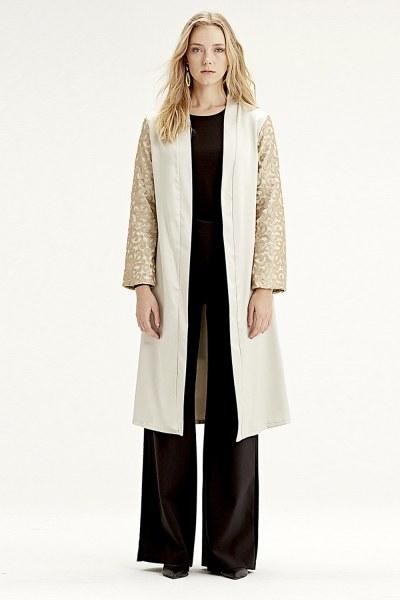 Mizalle Inlaid Sleeve Kimono (Beige)
