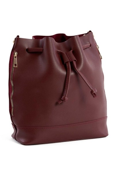 MIZALLE Drawstring Hand And Shoulder Bag (Claret Red)