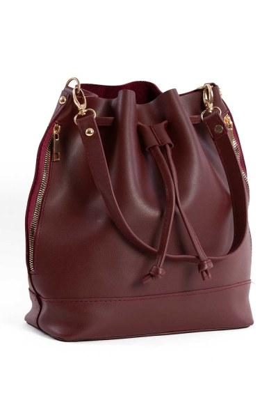 Drawstring Hand And Shoulder Bag (Claret Red) - Thumbnail