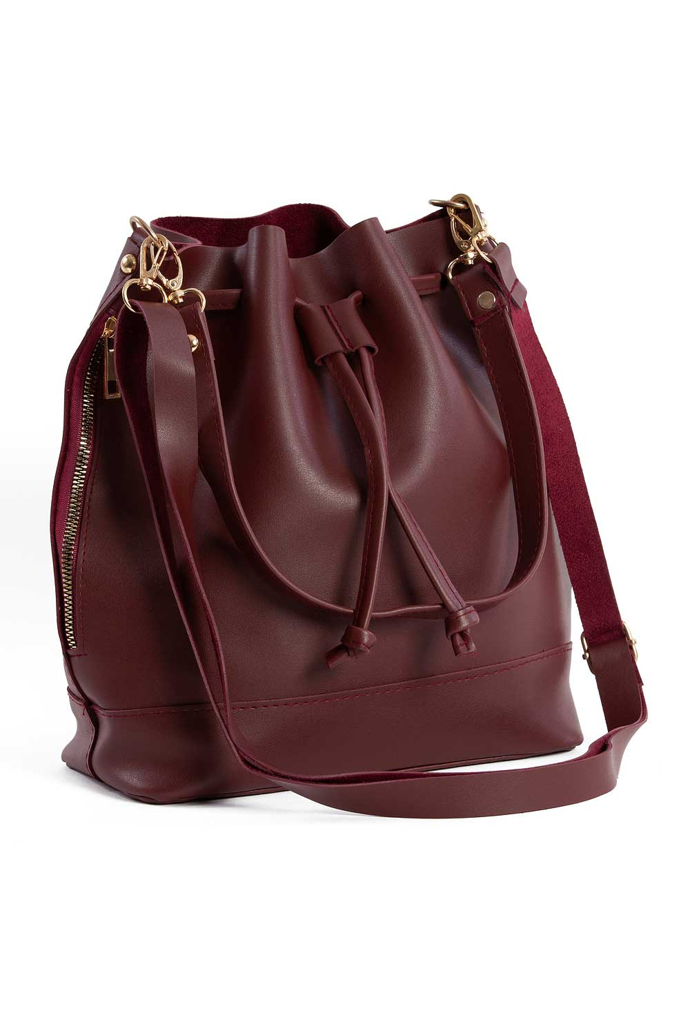 MIZALLE Drawstring Hand And Shoulder Bag (Claret Red) (1)