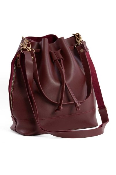 Drawstring Hand And Shoulder Bag (Claret Red) - Thumbnail