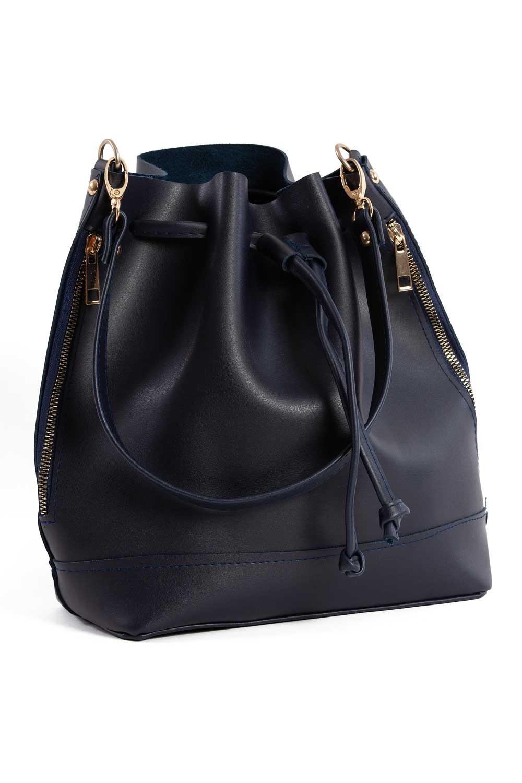 MIZALLE غطاء منسدل ، حقيبة كتف دائرية (أزرق داكن) (1)