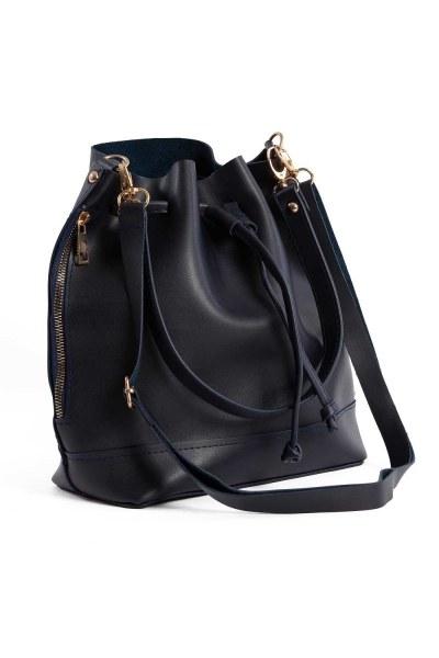 MIZALLE - غطاء منسدل ، حقيبة كتف دائرية (أزرق داكن) (1)