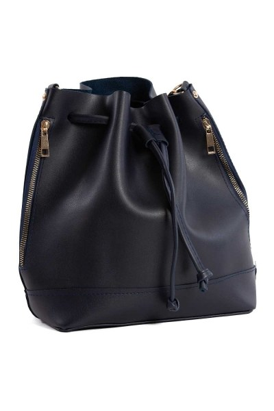 MIZALLE Drawstring Hand And Shoulder Bag (Dark Blue)