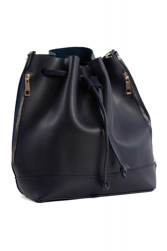 Drawstring Hand And Shoulder Bag (Dark Blue)