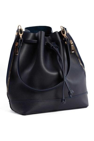 Drawstring Hand And Shoulder Bag (Dark Blue) - Thumbnail
